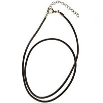 Brown 2MM Leather Cord 18 Inch Necklace