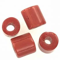 Brown Cylinder Tile Bead With Large 25MM Hole