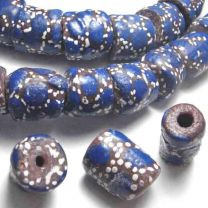 Brown with Royal and White Dots 16X12MM Cylinder African Trade Bead