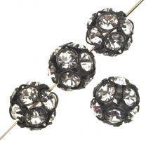 Crystal With Gunmetal Plate 12MM Rhinestone Ball