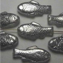 Crystal With Silver 28X14MM Fish Bead