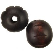 Dark Brown 25MM Incised Wood Ball With 55MM Hole