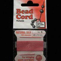 Dark Pink Sz 6 Braided Silk Cord With Needle