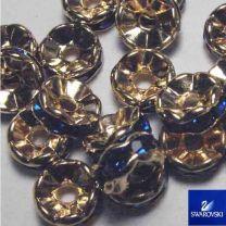Dark Sapphire with Gold 8MM Swarovski Rhinestone Rondelle