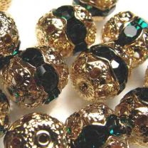 Emerald With Gold 12MM Rhinestone Filigree Ball