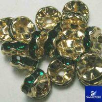Emerald with Gold 8MM Swarovski Rhinestone Rondelle