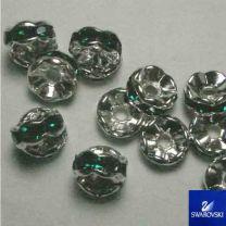 Emerald with Silver 8MM Swarovski Rhinestone Rondelle