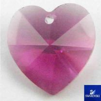 Fuchsia 14MM Swarovski Heart Pendant