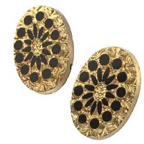 Gold 14X10MM with Jet Circles