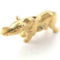 Gold Plate 12x23 Rhino Bead 3-D