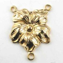 Gold Plate 19x14MM 2 to 1 Pansy Flower Chandelier Connector