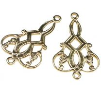 Gold Plate 20x15MM Filigree Tear Connector