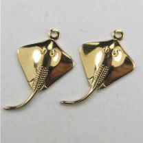 Gold Plate 21x13MM Stingray Stamping