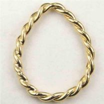 Gold Plate 22x18MM Twisted Wire Tear Ring