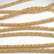 Gold Plate 42 Inch 4MM Twisted Mesh Necklace Chain