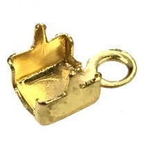 Gold Plate 4MM Crimp End For 3MM PP 24 Rhinestone Cup Chain
