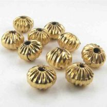 Gold Plate 6MM Fluted Rondelle
