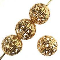 Gold Plate 8MM Filigree Ball
