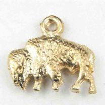 Gold Plate 9x15MM Bison Charm