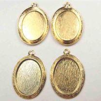 Gold Plate Textured 18X13MM Bezel Setting
