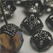 Gunmental Bead Cap Squared Textured fits 8mm beads
