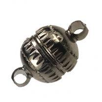 GunmetalPlate 14x8MM Magnetic Ball Clasp