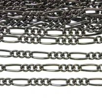 Gunmetal 8x3MM Wide Figaro Chain Unsoldered