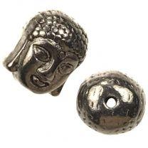 Gunmetal Plate 11x9MM Buddha Head Bead