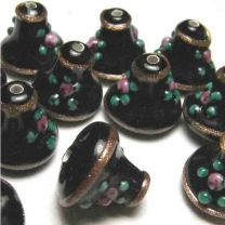 Jet 12MM Bell With Floral and Gold Glitter Detail
