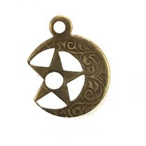 Left Facing Antique Brass Plate 11MM Star in Moon