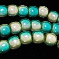 Lemon with Blue 2 Tone 7x8MM Miracle Crow Bead