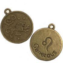 Leo 21MM Antique Brass Plate Coin Pendant