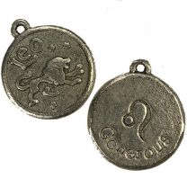 Leo 21MM Antique Silver Plate Coin Pendant