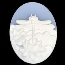 Light Blue With White 40X30MM Dragonfly Cameo