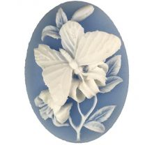 Light Blue With White 40x30MM Butterfly Cameo