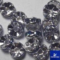 Light Sapphire with Silver 8MM Swarovski Rhinestone Rondelle