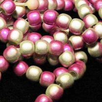 Lime with Hot Pink 2 Tone 7x8MM Miracle Crow Bead