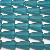 Matte Dark Aqua 16x10MM Triangle Bead