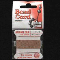 Mocha Beige Sz 6 Braided Silk Cord With Needle