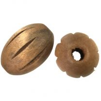 Natural Color 30x21MM Incised Oval With 5MM Hole