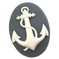 Navy Blue With White Rope and Anchor 40X30MM Cameo