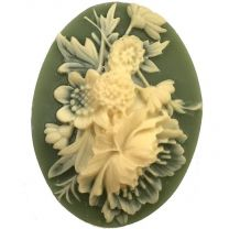 Olive With Ivory Art Flowers 40X30MM Cameo