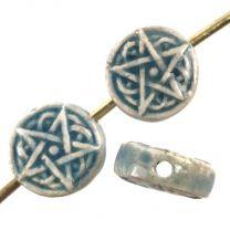 Om Peruvian Ceramic 13MM Coin Bead