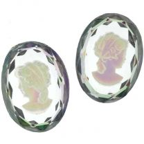 Paired 25X18MM Crystal Ab Intaglio Cameo