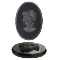 Paired 25X18MM Jet Cameo