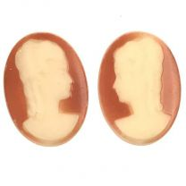 Paired Cameo Beige  Apricot 18X13MM