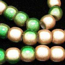 Peach with Green 2 Tone 7x8MM Miracle Crow Bead