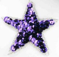 Purple Sequin Star Motif 65mm