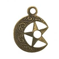 Right Facing Antique Brass Plate 11MM Star in Moon