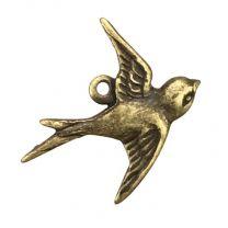 Right Facing Antique Brass Plate 17x15MM Swallow Bird